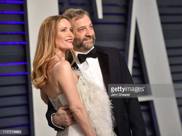 Leslie Mann and Judd Apatow attend the 2019 Vanity Fair Oscar Party hosted by Radhika Jones at Wallis Annenberg Center for the Performing Arts on...