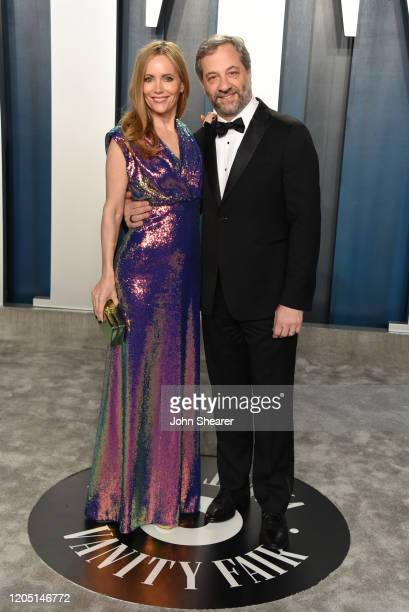Leslie Mann and Judd Apatow attend the 2020 Vanity Fair Oscar Party hosted by Radhika Jones at Wallis Annenberg Center for the Performing Arts on...