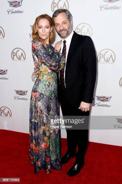 Leslie Mann and Judd Apatow attend the 29th Annual Producers Guild Awards at The Beverly Hilton Hotel on January 20 2018 in Beverly Hills California