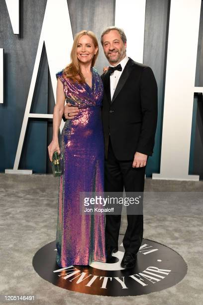 Leslie Mann and Judd Apatow attends the 2020 Vanity Fair Oscar Party hosted by Radhika Jones at Wallis Annenberg Center for the Performing Arts on...