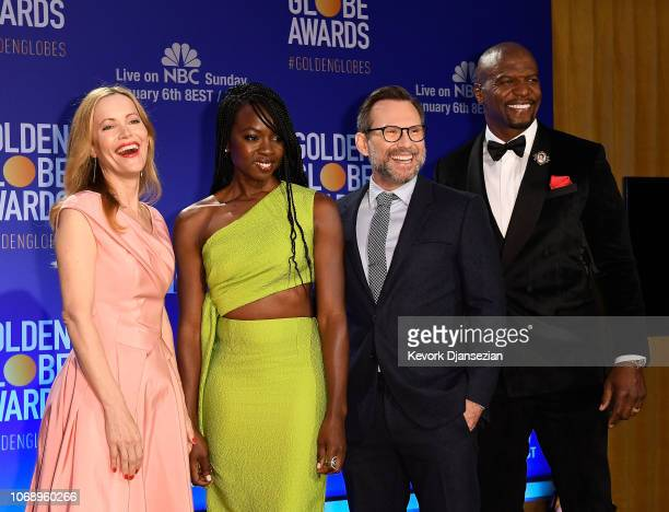 Leslie Mann Danai Gurira Christian Slater and Terry Crews attend the 76th Annual Golden Globe Nominations Announcement on December 6 2018 in Beverly...