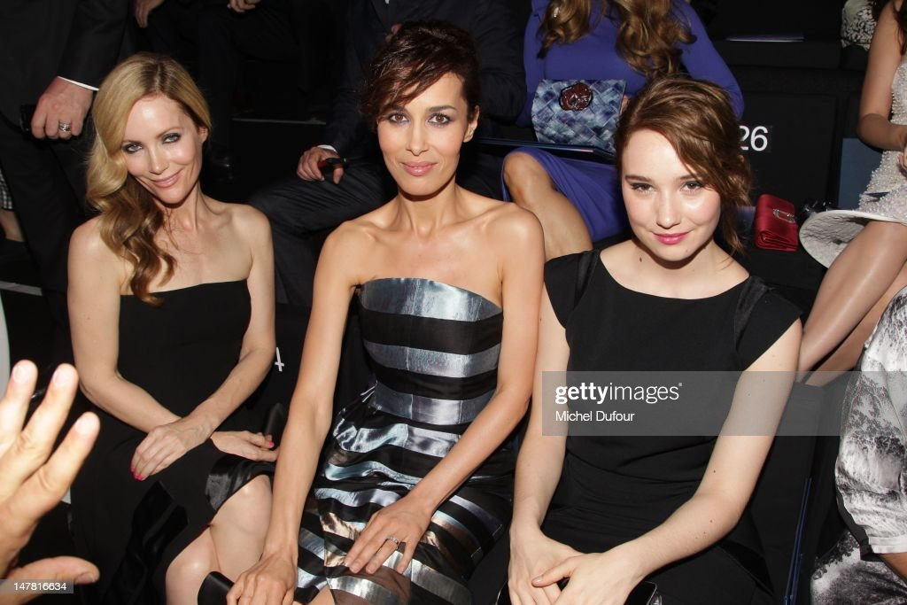 Leslie Mann, Dolores Chaplin and Deborah Francois attend the Giorgio Armani Prive Haute-Couture Show as part of Paris Fashion Week Fall / Winter 2012/13 at Palais de Chaillot on July 3, 2012 in Paris, France.