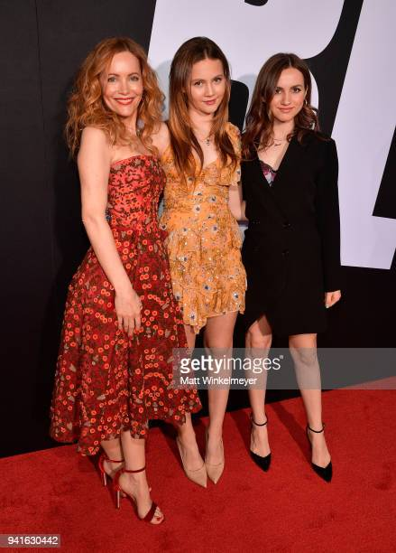 Leslie Mann Iris Apatow and Maude Apatow attend the premiere of Universal Pictures' 'Blockers' at Regency Village Theatre on April 3 2018 in Westwood...