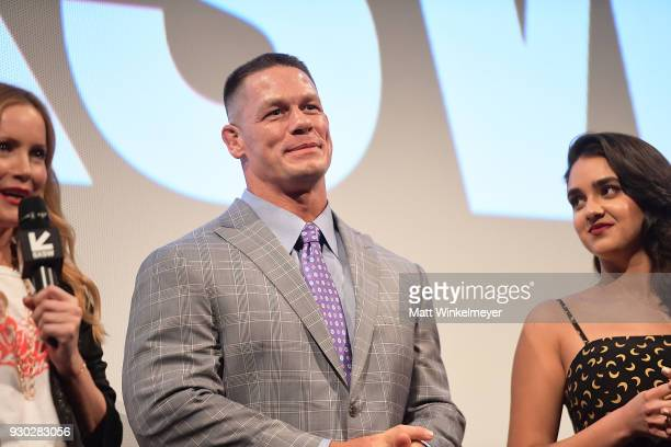 Leslie Mann John Cena and Geraldine Viswanathan attend the 'Blockers' Premiere 2018 SXSW Conference and Festivals at Paramount Theatre on March 10...