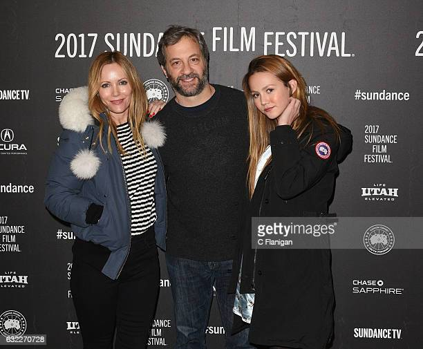 Leslie Mann Judd Apatow and Iris Apatow attend the 'The Big Sick' premiere during day 2 of the 2017 Sundance Film Festival at Eccles Center Theatre...