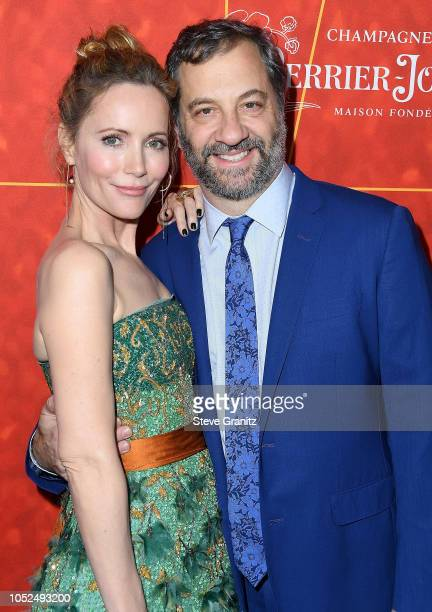 Leslie Mann Judd Apatow arrives at the amfAR Gala Los Angeles 2018 at Wallis Annenberg Center for the Performing Arts on October 18 2018 in Beverly...