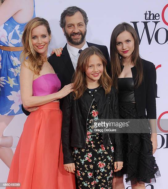 Leslie Mann Judd Apatow Iris Apatow and Maude Apatow arrive at the Los Angeles premiere of The Other Woman at Regency Village Theatre on April 21...