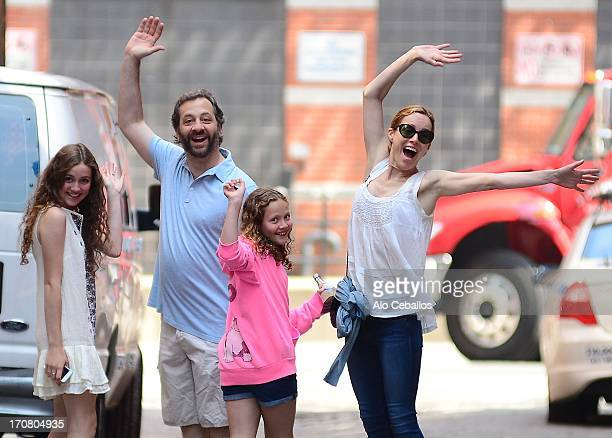 Leslie Mann Judd Apatow Maude Apatow and Iris Apatow are seen in Tribeca on June 18 2013 in New York City