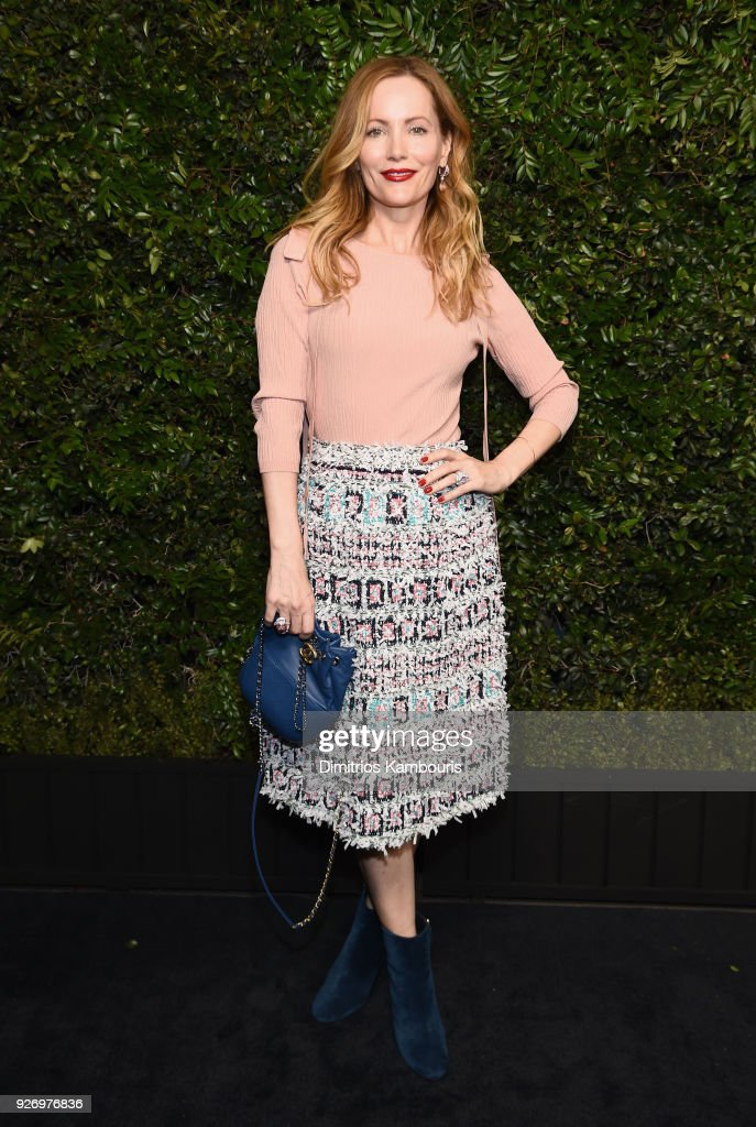 Leslie Mann, wearing CHANEL, attends Charles Finch and Chanel Pre-Oscar Awards Dinner at Madeo in Beverly Hills on March 3, 2018 in Beverly Hills, California.