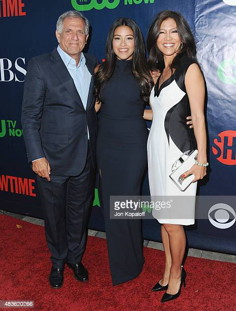 Leslie Moonves actress Gina Rodriguez amd Julie Chen arrive at CBS CW And Showtime 2015 Summer TCA Party at Pacific Design Center on August 10 2015...