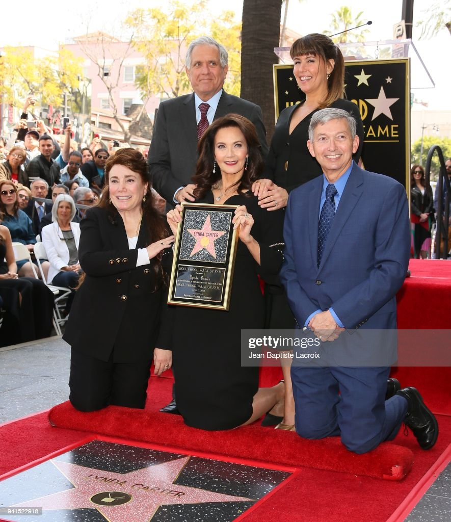 Leslie Moonves, Lynda Carter and Patty Jenkins attend a ceremony honoring her with a star on The Hollywood Walk Of Fame on April 3, 2018 in Hollywood, California.