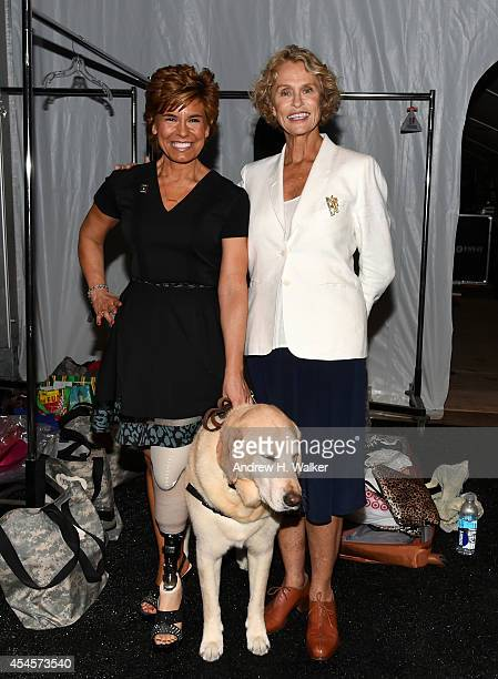 Leslie Nicole Smith and Lauren Hutton attend the Salute The Runway fashion show sponsored by Little Black Dress Wines Fatigues To Fabulous during...