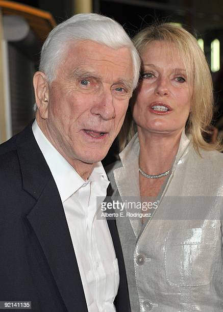 Leslie Nielsen and wife Barbaree Earl Nielsen arrive at the Los Angeles premiere of Anchor Bay Entertainment's Stan Helsing on October 20 2009 in Los...