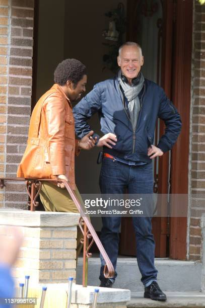 Leslie Odom Jr and Alan Taylor are seen on the set of The Many Saints of Newark on April 18 2019 in New York City
