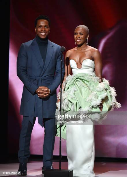 Leslie Odom Jr and Cynthia Erivo speak onstage during the 51st NAACP Image Awards Presented by BET at Pasadena Civic Auditorium on February 22 2020...