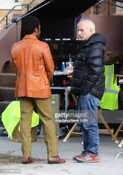 Leslie Odom Jr and David Chase are seen on the set of The Many Saints of Newark on April 18 2019 in New York City