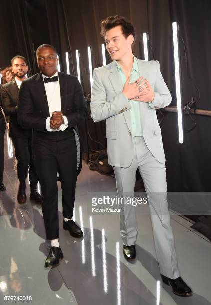Leslie Odom Jr and Harry Styles pose backstage during 2017 Victoria's Secret Fashion Show In Shanghai at MercedesBenz Arena on November 20 2017 in...