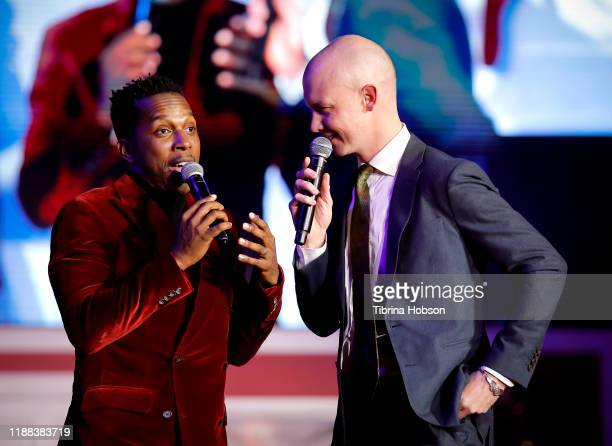 Leslie Odom Jr and Isaac Slade attend Christmas at The Grove A Festive Tree Lighting celebration at The Grove on November 17 2019 in Los Angeles...