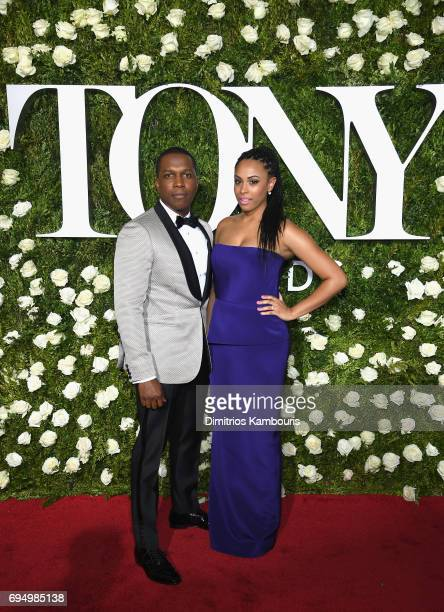 Leslie Odom Jr and Nicolette Robinson attend the 2017 Tony Awards at Radio City Music Hall on June 11 2017 in New York City
