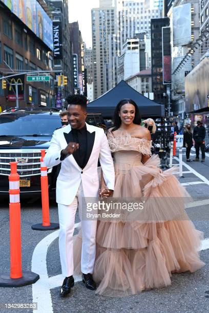 Leslie Odom Jr. And Nicolette Robinson attend the 74th Annual Tony Awards at Winter Garden Theater on September 26, 2021 in New York City.