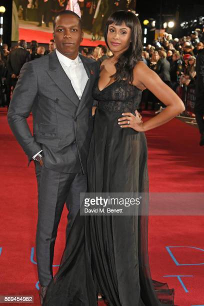 Leslie Odom Jr and Nicolette Robinson attend the World Premiere of Murder On The Orient Express at The Royal Albert Hall on November 2 2017 in London...