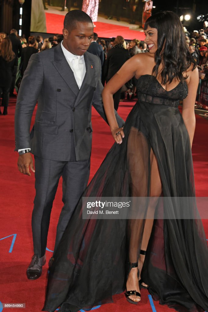 Leslie Odom Jr (L) and Nicolette Robinson attend the World Premiere of 'Murder On The Orient Express' at The Royal Albert Hall on November 2, 2017 in London, England.
