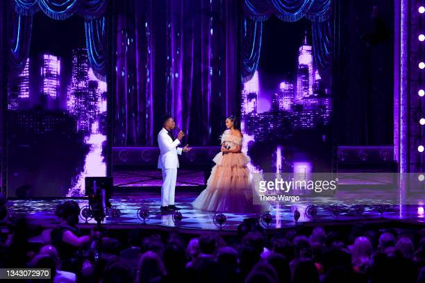 Leslie Odom, Jr. And Nicolette Robinson perform onstage during the 74th Annual Tony Awards at Winter Garden Theatre on September 26, 2021 in New York...
