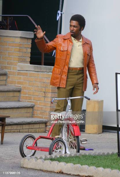 Leslie Odom Jr is seen on the set of The Many Saints of Newark on April 18 2019 in New York City