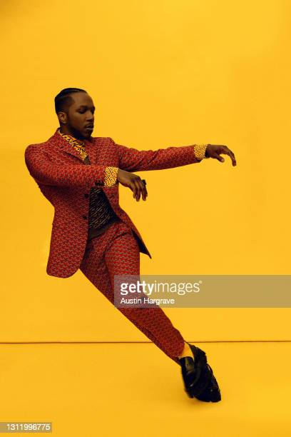 "Leslie Odom, Jr. Nominated for best actor in a supporting role for ""One Night In Miami..."" is seen in his award show look for the EE British Academy..."