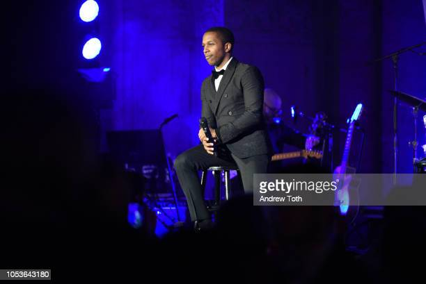 Leslie Odom Jr performs on stage during NewYorkPresbyterian Hospital's Amazing Kids Amazing Care Dinner at Cipriani 25 Broadway on October 25 2018 in...