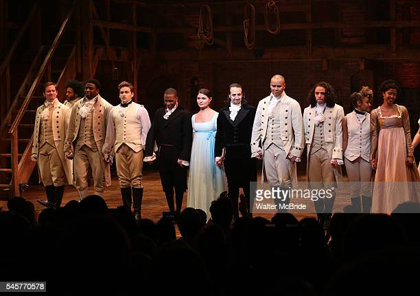 Leslie Odom Jr Phillipa Soo and Ariana DeBose with LinManuel Miranda with the cast during their final performance curtain call of 'Hamilton' on...