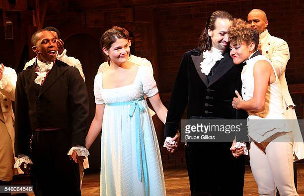 Leslie Odom Jr Phillipa Soo LinManuel Miranda and Ariana Debose take their final curtain call for their final show in 'Hamilton' on Broadway at The...