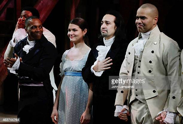 "Leslie Odom Jr., Phillipa Soo, Lin-Manuel Miranda and Christopher Jackson attend ""Hamilton"" Opening Night at The Public Theater on February 17, 2015..."