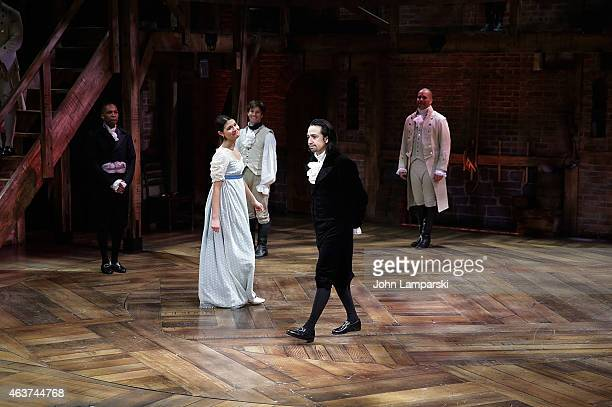 "Leslie Odom Jr., Phillipa Soo, Lin-Manuel Miranda, Christopher Jackson and cast attend ""Hamilton"" Opening Night at The Public Theater on February 17,..."