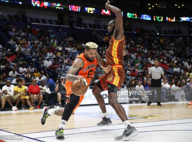 Leslie of Bivouac blocks as Andre Emmett of 3's Company dribbles around him during the BIG3 Playoffs at Smoothie King Center on August 25, 2019 in...