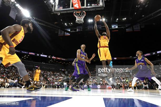 Leslie of Bivouac shoots against Rashard Lewis of 3 Headed Monsters during week four of the BIG3 three-on-three basketball league at Barclays Center...