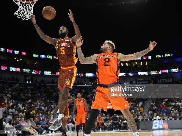 Leslie of Bivouac shoots the ball as Andre Emmett of 3's Company defends during the BIG3 Playoffs at Smoothie King Center on August 25, 2019 in New...