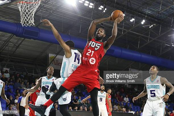 Leslie of the Greensboro Swarm rebounds against Ralston Turner of the Greensboro Swarm during the game at the The Field House at the Greensboro...