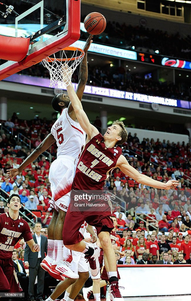 C.J. Leslie #5 of the North Carolina State Wolfpack blocks a shot by Eddie Odio #4 of the Boston College Eagles during play at PNC Arena on February 27, 2013 in Raleigh, North Carolina. North Carolina State won 82-64.