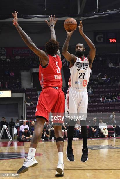 Leslie of the Raptors 905 shoots over Chris Walker of the Rio Grande Valley Vipers during the second quarter in Game Three of the DLeague Finals at...