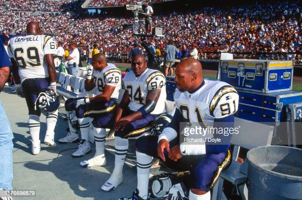 Leslie O'Neal, DE Chris Mims, DE, DT David Campbell taking a break during the game. San Francisco 49ers 17 vs San Diego Chargers 6 at Jack Murphy...