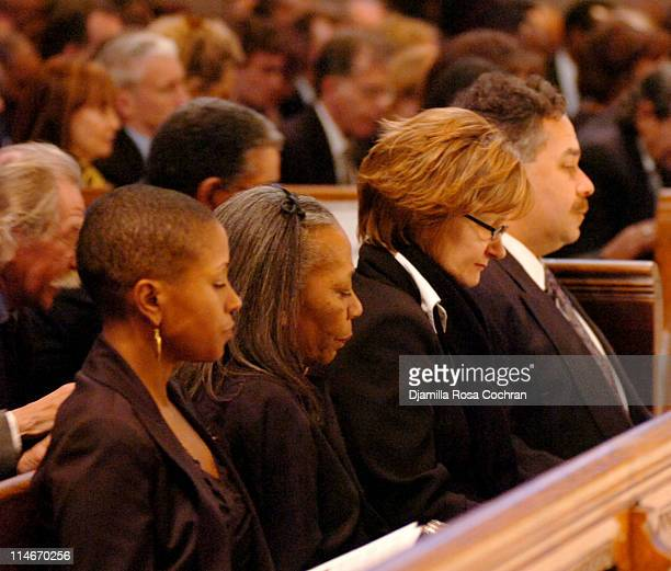 Leslie Parks Toni Parks and Alain Brouillaud at Riverside Church during the funeral service for Photographer Gordon Parks on March 14 2006 in New...