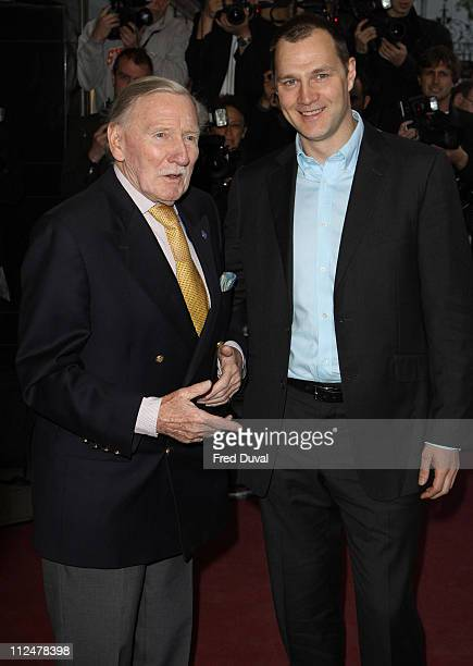 Leslie Phillips and David Morrissey arrives at the London film Premiere of 'Is Anybody There? at Curzon Mayfair, 38 Curzon Street, London W1, on...