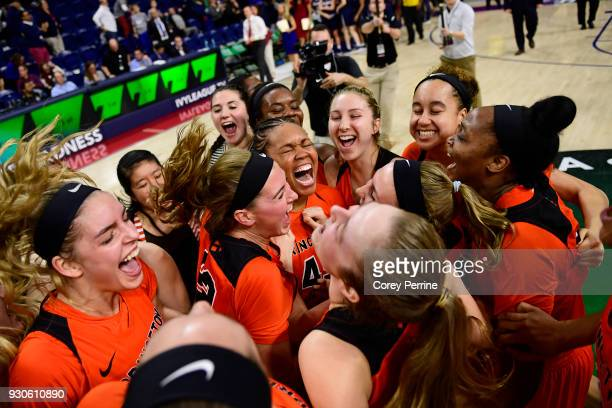 Leslie Robinson of the Princeton Tigers celebrates after winning the Women's Ivy League Tournament Championship with her team at The Palestra on...
