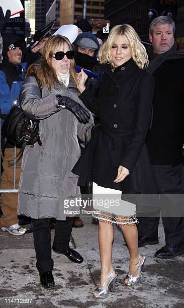 """Leslie Sloane and Sienna Miller during Sienna Miller Visits the """"Late Show with David Letterman"""" - February 15, 2007 at Ed Sullivan Theater in New..."""