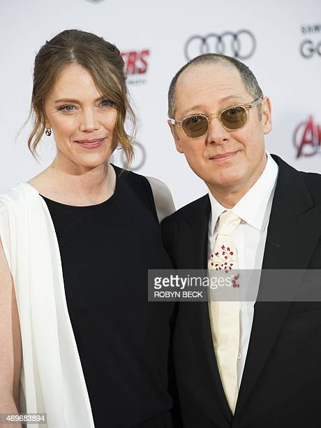 Leslie Stefanson and actor James Spader attend the premiere of Marvel's Avengers Age Of Ultron at the Dolby Theatre on April 13 2015 in Hollywood...