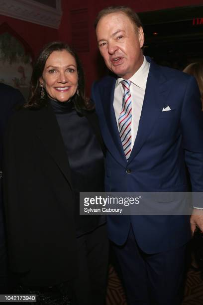 Leslie Stevens and Alex Donner attend David Patrick Columbia And Chris Meigher Toast The QUEST 400 At DOUBLES on September 27 2018 in New York City