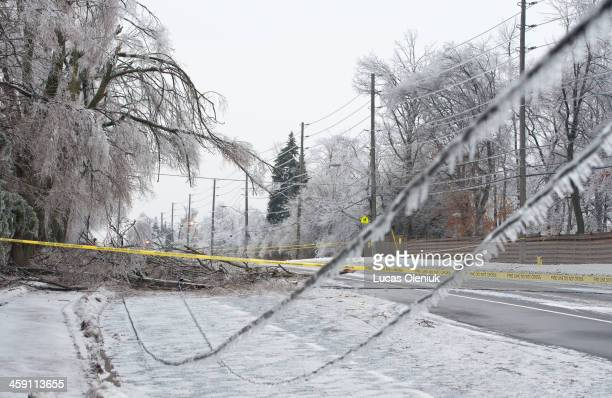 Leslie Street south of York Mills was closed after the ice storm brought down power lines Sunday afternoon Lucas Oleniuk/Toronto Star