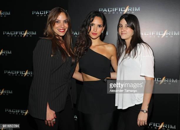 Leslie Torres Adria Arjona Priscilla del Rey are seen at the special screening of Pacific Rim Uprising at Cinebistro at City Place Doral in Miami...
