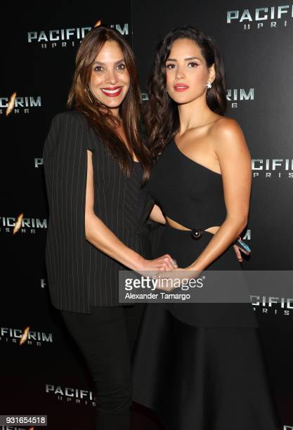 Leslie Torres and her daughter Adria Arjona are seen at the special screening of Pacific Rim Uprising at Cinebistro at City Place Doral in Miami...
